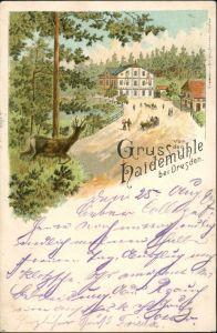 Langebrück Dresden Gasthaus Haidemühle Litho Astempel Glashütte Erzgebirge 1897