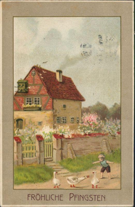 Glückwunsch: Pfingsten - Künstlerkarte - Haus, Junge, Gänse 1912