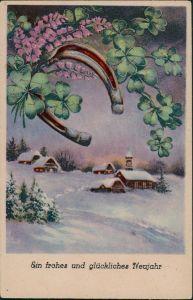 Glückssymbole Neujahr, Hufeisen, Kleeblätter, Neujahrsgruss 1920