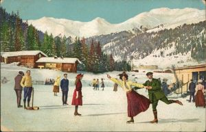 Ansichtskarte  Schlittschuh laufen in den Bergen (gel Rußland) 1912