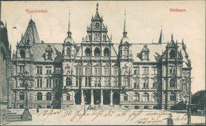 Ansichtskarte Wiesbaden Rathaus, Bauwerk Gesamtansicht, Town Hall 1906
