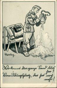 Ansichtskarte  Soldaten Humor, Ausschütteln der Stiefel, Militär 1940
