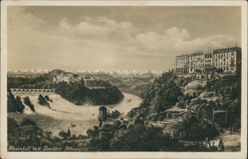 Ansichtskarte Neuhausen am Rheinfall Rheinfall mit Institut Rhenania 1934
