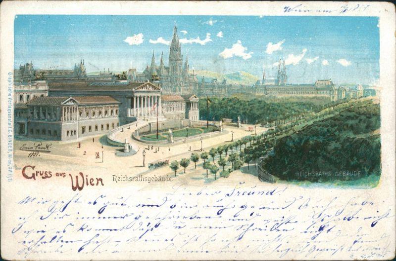 Ansichtskarte Wien Stadtpartie - Reichratsgebäude 1898
