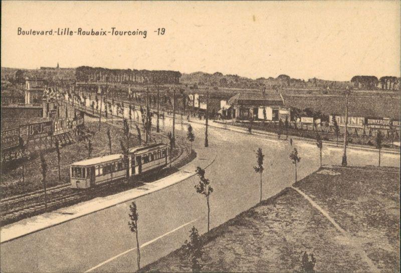 Ansichtskarte  Boulevard LILLE-Roubaix-Tourcoing, Tram Straßenbahn 1915