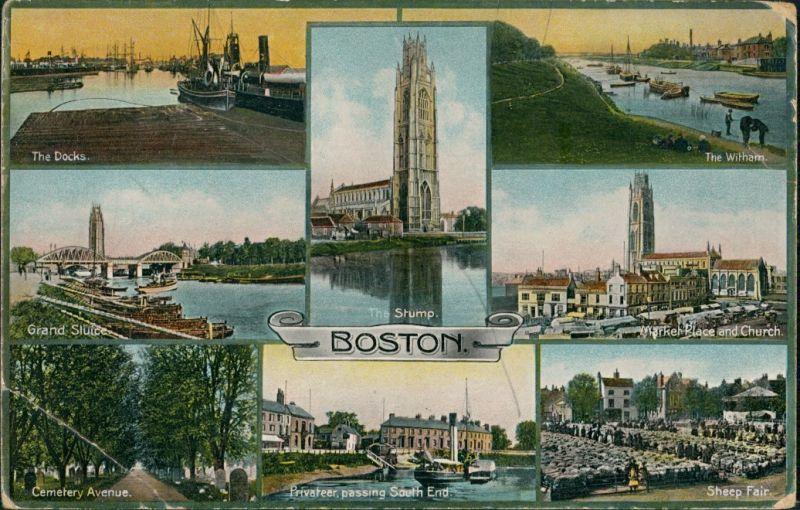 Boston Multi-View, Docks, Market Place, Cemetery Ave., Sheep Fair 1912