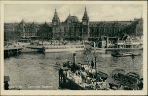 Amsterdam  Hauptbahnhof Central Station, Centraal station, Binnenschiffe 1930