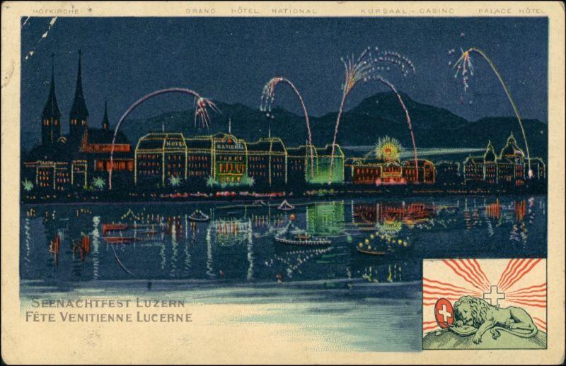 Ansichtskarte Luzern Lucerna Illumination - Seenachtfest 1910