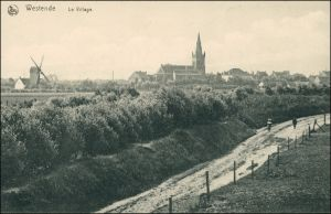 Postkaart Westende-Middelkerke Straße, Windmühle 1911