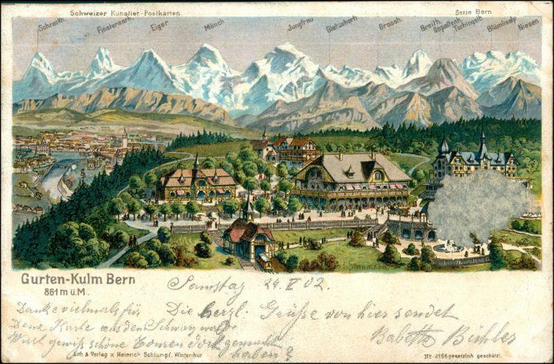 Ansichtskarte Bern Künstlerkarte Gurten Kulm 1902