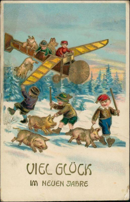 Ansichtskarte  Goldrand, Neujahr Flugzeug Schweine Kinder 1913 Goldrand