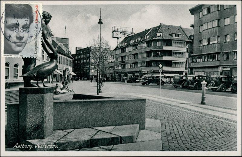 Postcard Aalborg Ålborg Vesterbro - Autos 1936