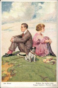 Künstlerkarte Künstler John Wood, Paar mit Hund,