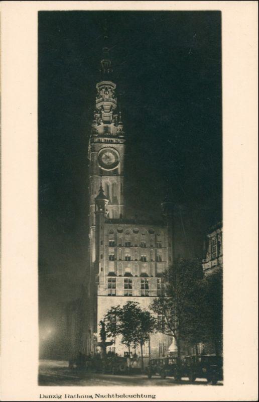 Danzig Gdańsk/Gduńsk Rathaus Nachtbeleuchtung - Privatfoto AK 1929