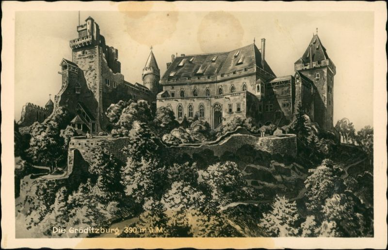 Adelsdorf Zagrodno Gröditzburg/Burg Grodziec - Künstlerkarte 1930
