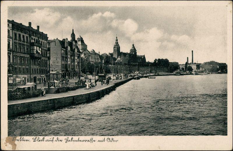 Postcard Stettin Szczecin Straßenpartie 1935