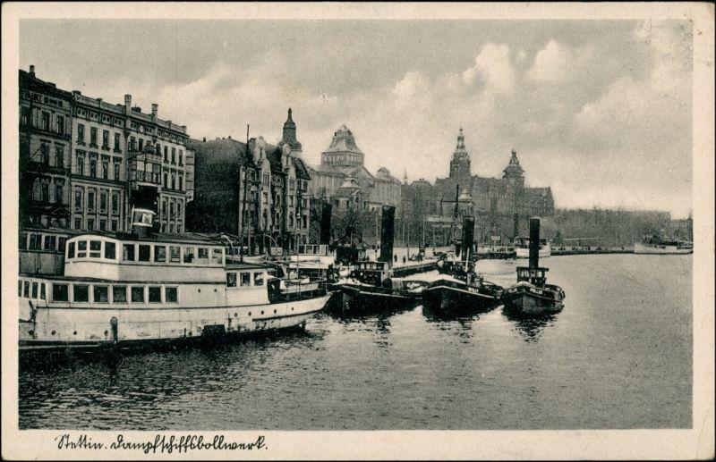 Postcard Stettin Szczecin Dampferbollwerk - Dampfer 1935