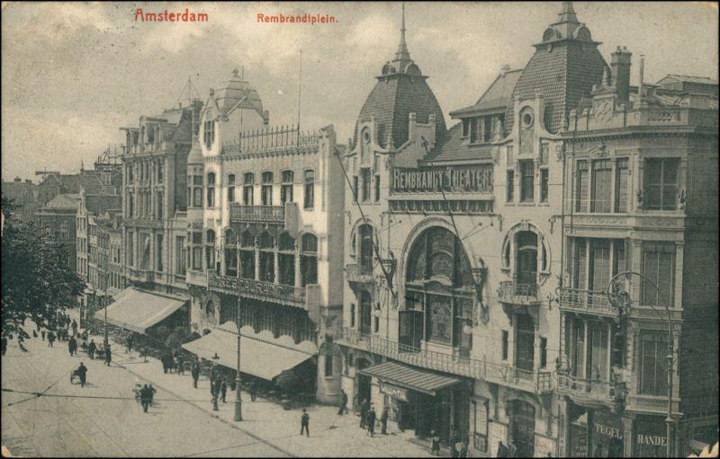 Postkaart Amsterdam Amsterdam Rembrandtplein - Geschäfte 1909