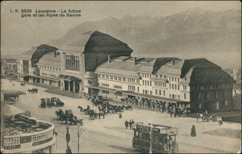 Ansichtskarte Lausanne Bahnhof - Kutsche 1911