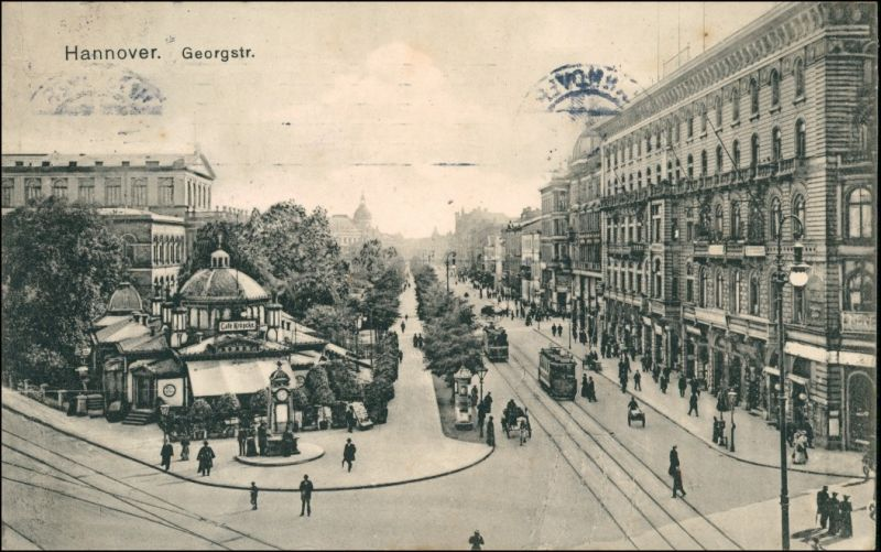 Ansichtskarte Hannover Kröpcke Georgstraße, Straßenbahn 1909