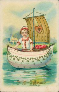 Ansichtskarte  Schiff Mädchen Geburtstag - Goldrand Prägekarte 1911 Goldrand
