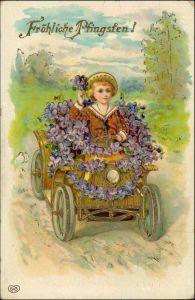 Ansichtskarte  Blumen-Auto, Mädchen Goldrand Prägekarte 1911 Goldrand