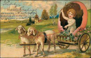 Goldrand - Präge AK - Lämmer Kutsche Mädchen RiesenEI Ostern 1906 Silberrand