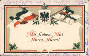 Ansichtskarte  Patriotika Mit frohem Mut Hurra Hurra! 1914