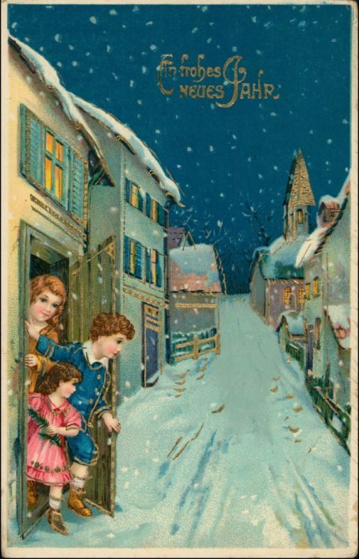 Glückwunsch - Neujahr/Sylvester - Straße, Kinder Goldrand 1911 Goldrand