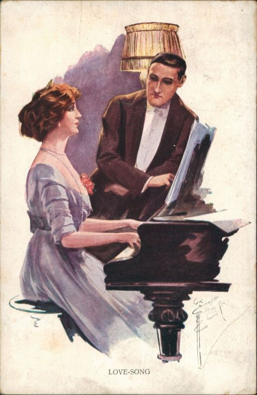 Ansichtskarte  Liebespaar Frau am Klavier
