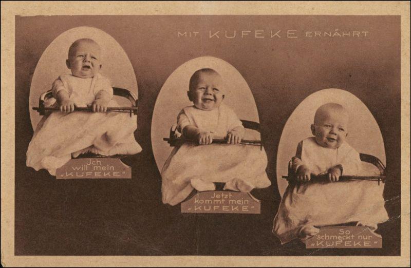 Ansichtskarte  Babys - Kindernahrung Kufeke - Hamburg Bergedorf 1928