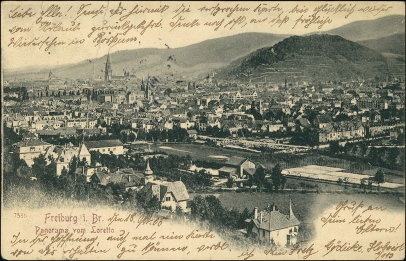Ansichtskarte Freiburg im Breisgau Panorama vo Loretto 1905