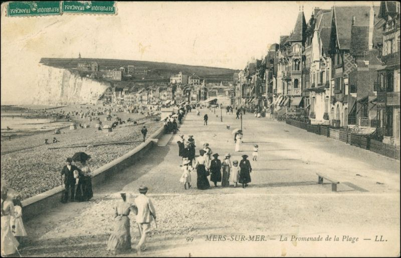 CPA Mers-les-Bains La Promenade de la Plage 1912