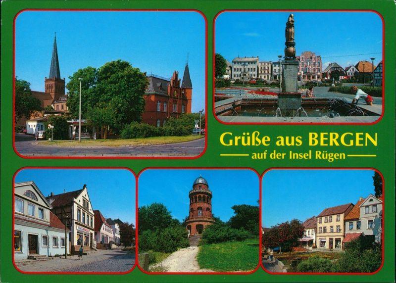 Ansichtskarte Bergen (Rügen) Rathaus, Kirche, Brunnen, Turm 1995