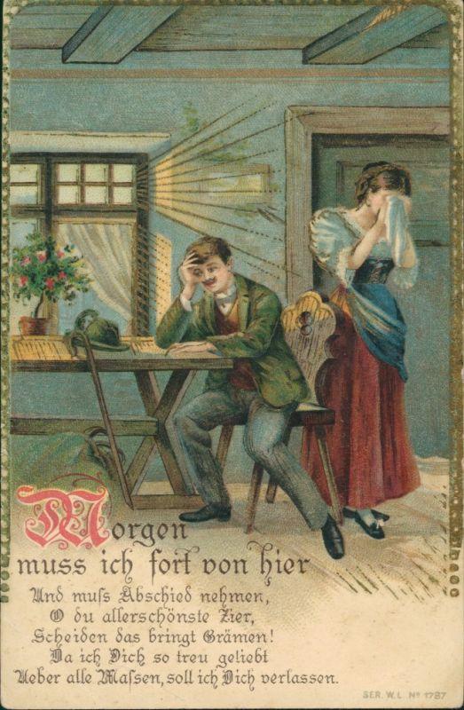 Menschen/Soziales Leben - Liebespaar Liebe & Romantik 1910 Goldrand