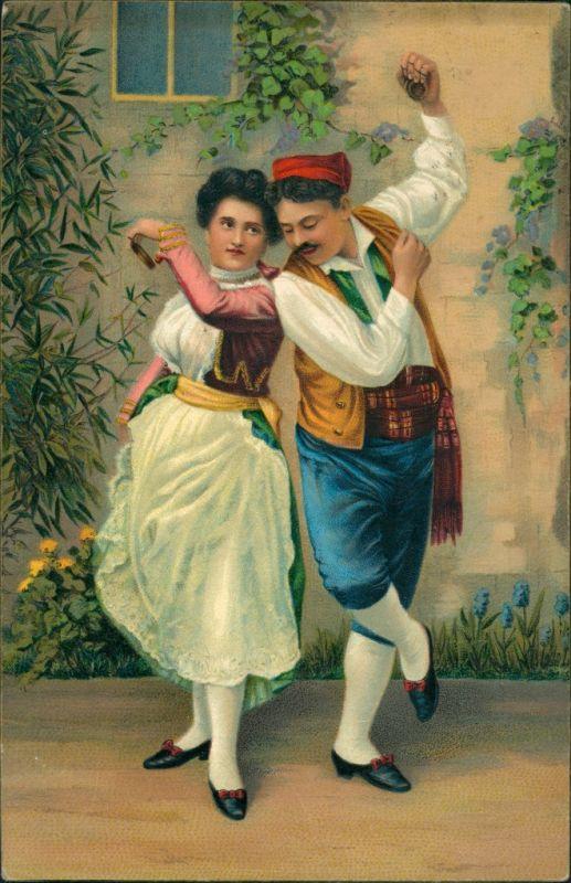Ansichtskarte  Menschen/Soziales Leben - Paar in Trachtenkleidung 1912
