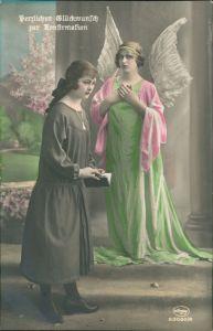 Glückwunsch - Konfirmation Frauen - 1 Frau als Engel verkleidet 1910