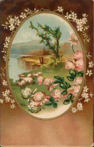 Künstlerkarte: Gemälde mit Landschaft und Schafen, Blumen verziert 1900 Prägekarte