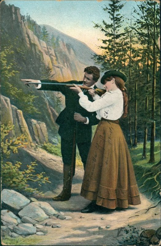 Ansichtskarte  Menschen/Soziales Leben - Paar, Jagd, Frau lernt Schießen 1907