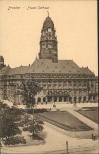Innere Altstadt-Dresden Neues Rathaus Strassen Partie mit Grünanlagen 1920