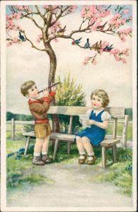 Ansichtskarte  Kinder Künstlerkarte Junge mit Flöte, Mädchen singt 1950