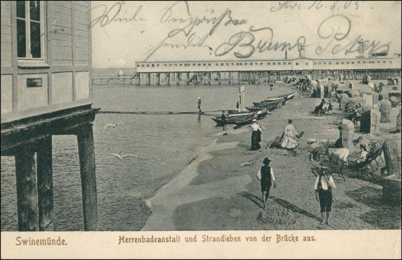 Postcard Swinemünde Świnoujście Strand - Herrenbad, Strandleben 1905