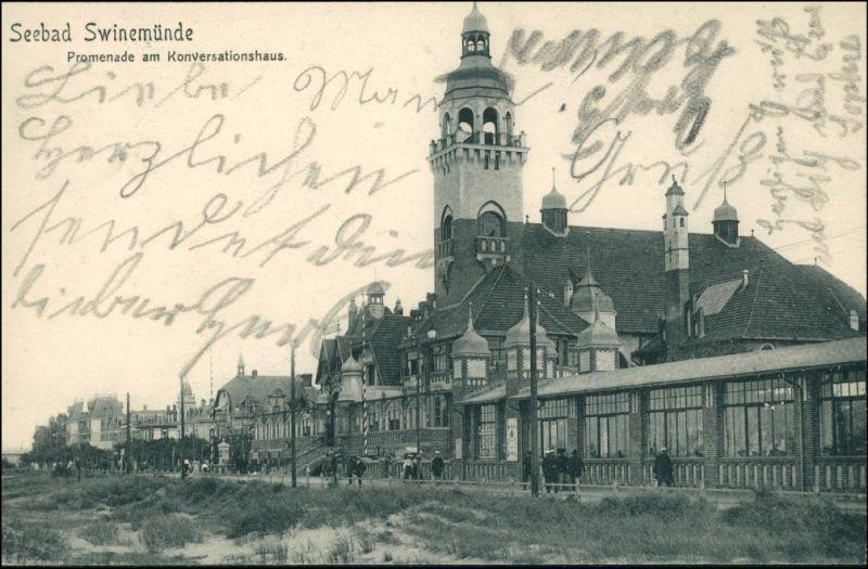 Postcard Swinemünde Świnoujście Promenade am Konversationshaus 1904