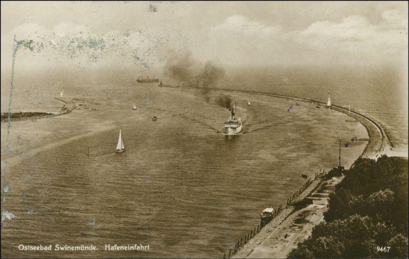 Swinemünde Świnoujście Hafeneinfahrt vom Leuchtturm Osternothafen 1928