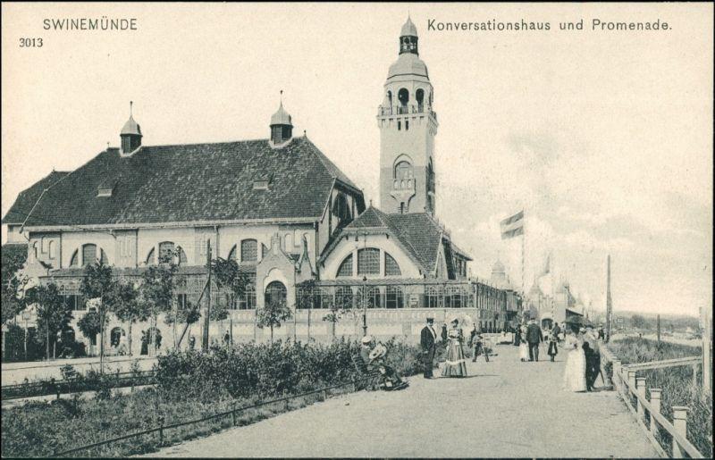 Postcard Swinemünde Świnoujście Promenade und Konversationshaus 1909