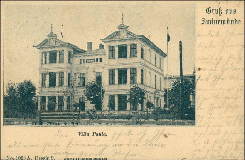 Postcard Swinemünde Świnoujście Villa Paula 1903