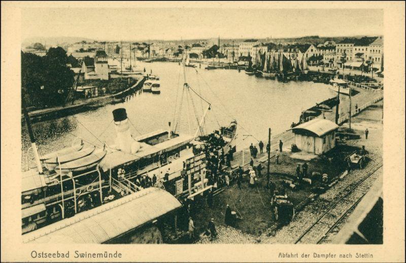 Swinemünde Świnoujście Abfahrt des Dampfers Stettin - Hotel 1912