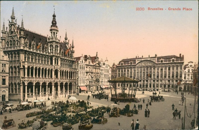 Brüssel Bruxelles Grand Place, Markt, Markttreiben, alte Gebäude 1910