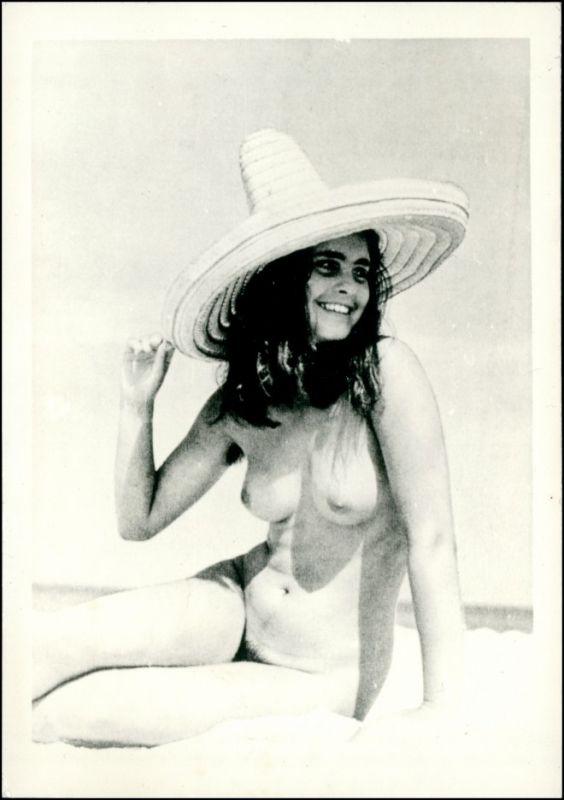 nackte Frau mit Strohhut StrandErotik (Nackt - Nude) 1950 Privatfoto