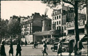Paris La Place Blanche et le Moulin Rouge/Verkehr,  , Moulin-Rouge 1960